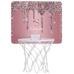 Rose Gold Pink Glitter Drips Sparkle Monogram Name Mini Basketball Hoop - tap/click to get yours right now! #MiniBasketballHoop #rose #gold #pink, #monogram #and