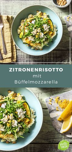 Zitronenrisotto mit Büffelmozzarella Pinienkernen, Ofenzucchini und Rucola Lemon risotto with buffalo mozzarella, pine nuts, oven zucchini and rocket. Buffalo Mozzarella, Veggie Dishes, A Food, Couscous, Vegetarian Recipes, Veggies, Stuffed Peppers, Dinner, Healthy