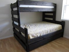 Twin XL over Queen bunk with storage underneath.