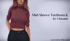 Sims 4 CC's - The Best: Mid Sleeve Turtleneck by Elliesimple