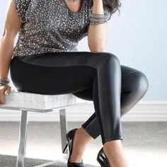 Lane Bryant Pants & Jumpsuits | Lane Bryant Fauxleather Front Leggings 8 | Poshmark Chub Rub, Lane Bryant, Colorful Leggings, Pant Jumpsuit, Leggings Are Not Pants, Jumpsuits, Black And Grey, Leather Pants, 18th