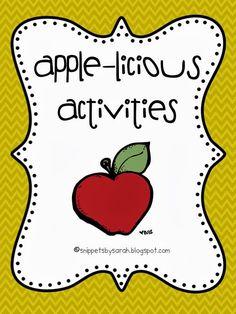 Sarah's First Grade Snippets: Apple Activities