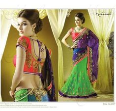 Georgette Blue Green Embroidered Lehenga Saree BlouseSC4007
