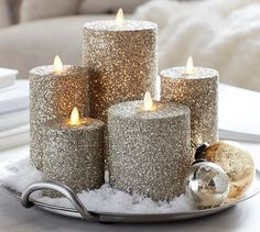 Shop Pottery Barn for festive Christmas Accessories. Find stylish Christmas decorations and home accents and bring cheer to your home this holiday season. Flameless Candles, Diy Candles, Pillar Candles, Pottery Barn, Gold Christmas Decorations, Holiday Decor, Christmas Candles, Glitter Decorations, Christmas Lights