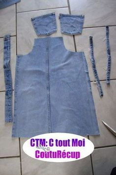 Tutorial for the end of the holiday ! - It's All Me Coutu & récup - carlotta Sewing Jeans, Sewing Aprons, Dress Sewing Patterns, Sewing Clothes, Jean Diy, Denim Ideas, Denim Crafts, Refashioning, Shirt Refashion