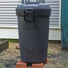 Rubber trash compost bin   $14 at Home Depot , or $80 for an EArth Machine......