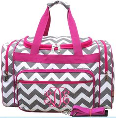 Personalized Duffle Bag Gray Chevron Hot Pink Dance by parsik93