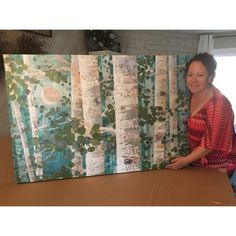 """Signed """"Moonlit Aspens"""" x Gallery Wrapped Canvas Print, ready for my client! I love seeing this large format of my work. This serene scene made of hand cut paper collage will add a dramatic splash of color to any room. Cut Paper, Paper Cutting, Traditional Paintings, Large Format, Mixed Media Art, Color Splash, Wrapped Canvas, Original Paintings, Etsy Seller"""