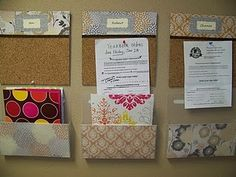 DIY command center- cork board, container store folders and scrapbook paper!