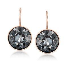 "Swarovski Crystal ""Bella Mini"" Silver Night Crystal Drop Earrings"