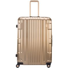 Lojel Women's Exos III Hybrid Small Spinner Carry-On Suitcase - Gold (745 CAD) ❤ liked on Polyvore featuring bags, luggage and gold