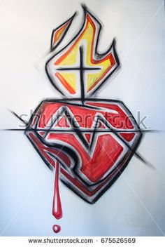 Hand drawn charcoal illustration or drawing of Jesus Christ Sacred Heart