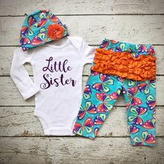 Little Sister/Newborn Girl outfit/Take home outfit/Baby