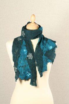 Silk chiffon and merino wool nuno felt scarf