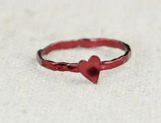 Tiny Red Heart Ring, Sterling Silver, Valentines Ring, Personalized Ring, Red…
