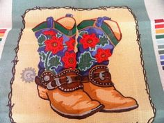 Cowgirl Boots Needlepoint Canvas