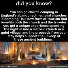 "jimtheviking: "" swedishwarriorwoman: "" fyeahgothicromance: "" annabellioncourt: "" did-you-kno: ""You can go church camping in England's abandoned medieval churches. ""Champing"" is a new form of tourism that benefits both the church and the traveler: you. Oh The Places You'll Go, Cool Places To Visit, Places To Travel, Travel List, Travel Goals, Camping In England, All Nature, I Want To Travel, To Infinity And Beyond"