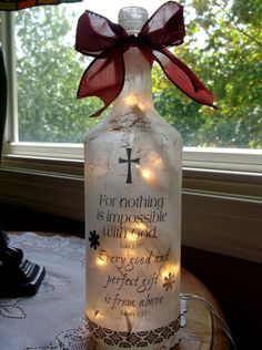 Christian Wine Bottle Lamp by songbird58 on Etsy, $22.99