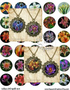 Lilies Oil Spill Art - Digital Collage Sheets - 1.5 inch Circles for Jewelry Makers, Party Favors, Crafts Projects by SaguaroGraphics on Etsy