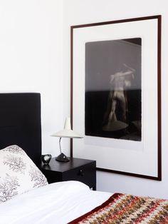 Statement art in bedroom