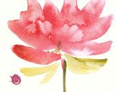Organic Art Original watercolor painting of Water Lilly by Elina Lorenz, wall art.