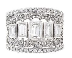 Art Deco Emerald Cut 5 Stone Diamond Cluster Ring c1920