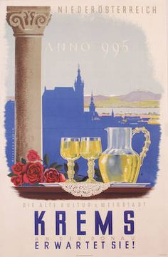 Krems an der Donau Mitschek Alois 1948 Harry Potter Poster, Hidden Places, Austria Travel, Central Europe, Vintage Travel Posters, Belle Epoque, Homeland, Vintage Designs, Art Deco