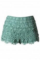 #Chicwish  Floral Crochet Shorts in Teal