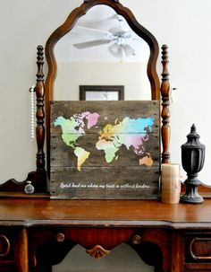 World Map  Spirit lead me where my trust is by theheartsandcrafts, $75.00 I would love this for graduation.