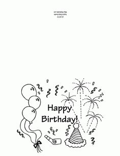Printable Birthday Card Coloring Page