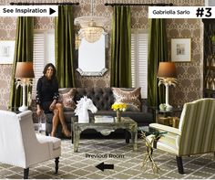 green silk drapes, brown, tufted, sofa, mirrored coffee table, striped green chair, white wingback chair, brown, brown lattice geometric rug, white lamps with chocolate brown silk shades, brown wallpaper and pillows.