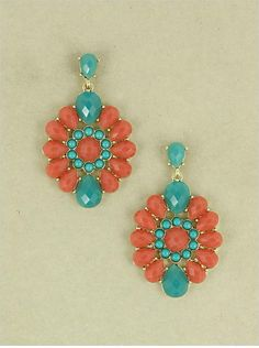 Coral & Teal Jeweled earrings