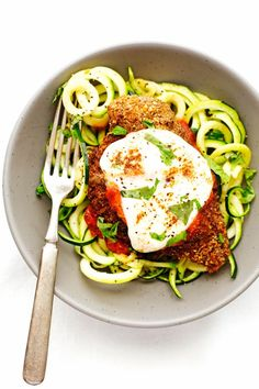 A more protein packed, healthy chicken parmesan recipe. We coat the chicken in ground walnuts to give this a heartier recipe. I'm serving it with zoodles!
