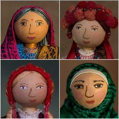 Wee Folks Portraits Clockwise from Top Left: Indian, Ukrainian, Nordic, Hijab Felt Fabric, Fabric Dolls, Fabric Art, Eslava, Flower Fairies, Textile Artists, Needle Felting, Art Dolls, Folk Art