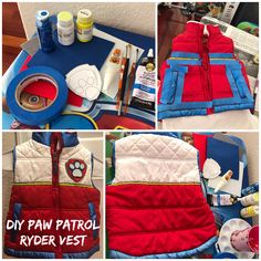 DIY Paw Patrol Ryder Vest- red vest with acrylic paint and a felt Paw badge. Perfect for Halloween! My son absolutely loves it!