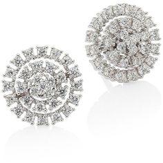 Hueb Spectrum Diamond & 18K White Gold Stud Earrings (51.270 ARS) ❤ liked on Polyvore featuring jewelry, earrings, white gold stud earrings, pave stud earrings, diamond fine jewelry, diamond jewelry and 18k diamond earrings