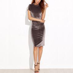 af624fcab8e3 Brown Velvet Short Sleeve Bodycon Midi Dress