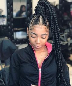 braid hairstyles african american Faux Locs #fishtailbraid Braided Ponytail Hairstyles, Dope Hairstyles, Braided Hairstyles For Black Women, African Braids Hairstyles, Braids For Black Hair, Weave Hairstyles, Cornrow Ponytail, Teenage Hairstyles, School Hairstyles