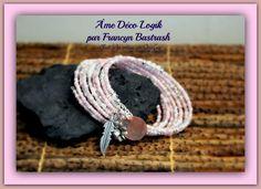 Bracelet mémoire Mimi de ton argent, perles rose et ivoire, breloque plume et fleur, nacre, cadeau d'anniversaire, St-Valentin, noël, bal de la boutique AmeDecoLogikFB sur Etsy