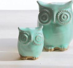 Mint Green Owl And Owlet Mother And Child Home Decor - eclectic - accessories and decor - Art Fire