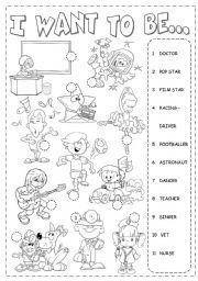"""""""I want to be"""" Worksheet for teaching about Professions English Time, Kids English, English Lessons, Learn English, English Vocabulary, English Grammar, Teaching English, English Language, English Worksheets For Kids"""