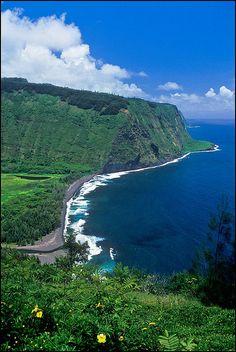 "✯ Waipio Valley, Hawaii. Once the capital and permanent home of the early Hawaiian kings. Waipio means ""curved water"" in the Hawaiian language."