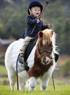 Precious ❤️ little kid on short cute fluffy pony.
