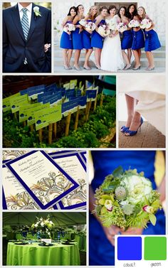 Wildflower Weddings Blog Inspiration Board Cobalt Blue And Green