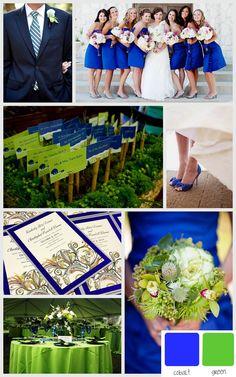 Wedding Invitation Royal Blue Lime Green White Fl Printed Ribbon Double Hearts