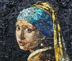 Wow! Girl With a Pearl Earring done in mosaic.  Amazing!
