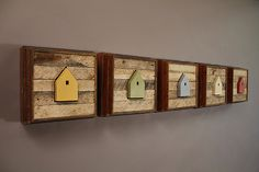 """Diversity by Chris Bowman. Wood Wall Art.  In """"Diversity"""" there are five dwelling structures created out of birch ply. The structures are textured with hand carved lines, painted with milk paint and mounted in their own frame. The frames are made from salvaged white oak flooring and lath work from a century old home. Each piece may vary slightly, due to the use of salvaged materials.  Found at www.artfulhome.com"""