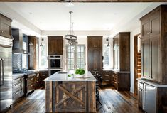 There are a lot of ideas on how to decorate a kitchen. The idea is based on homeowners' preference, but one of the most eye-catching and distinguishly different is the rustic kitchen decorating ideas. Wood Kitchen Island, Rustic Kitchen Cabinets, Kitchen Decor, Kitchen Ideas, Kitchen Designs, Kitchen Rustic, Wood Cabinets, Shaker Cabinets, Kitchen Images