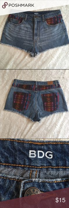 """BDG High rise """"Dree"""" cheeky jean shorts High rise """"cheeky"""" shorts with cute multicolored Aztec pattern. Fray detail on bottom. Perfect for summer!! BDG Shorts Jean Shorts"""