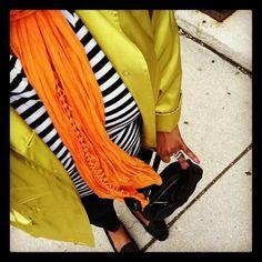 Stripes. Neon. Denim. #fashion #plussize
